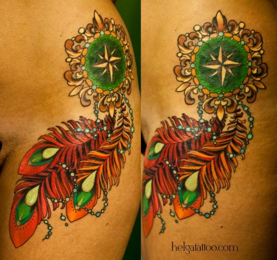 wind rose feather бусы медальон брошь брошка перо pluma old school neo traditional tattoo tatuaje тату в традиционном стиле традиция олд скул традишнл   цветная татуировка в Санкт-Петербурге