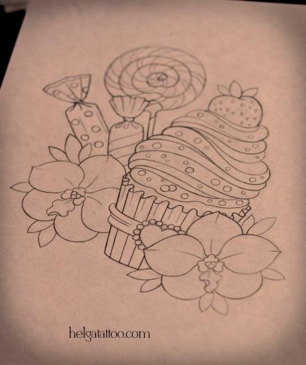 рисунок дизайн скетч орхидея цветы леденец конфета клубника сладости orquídea cake lollipop orchid pastel flor candy candies cupcake caramelo bonbon sweet design sketch diseno old school neo traditional tattoo tatuaje тату в традиционном стиле традиция олд скул традишнл в Санкт-Петербурге