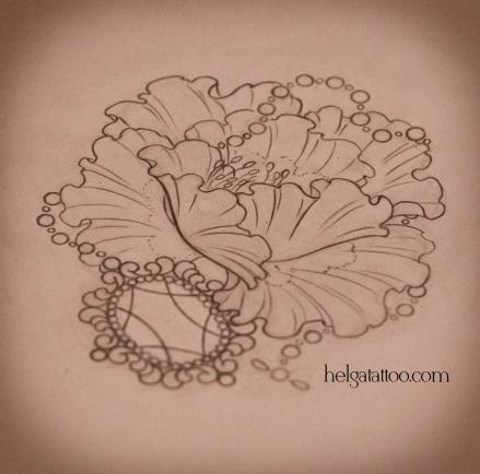 рисунок дизайн скетч design sketch diseno цветок flower flor amapola poppy medallion medallón  цветная татуировка в Санкт-Петербурге  old school neo traditional tattoo tatuaje тату в традиционном стиле традиция олд скул традишнл