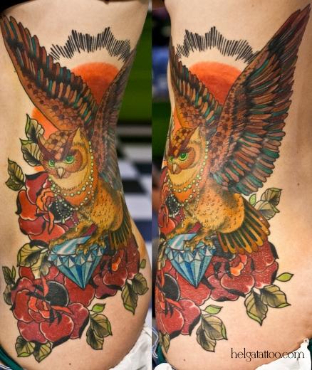 сова búho rose rosa flower diamond cristal бриллиант розы old school neo traditional tattoo tatuaje тату в традиционном стиле традиция олд скул традишнл   цветная татуировка  в Санкт-Петербурге