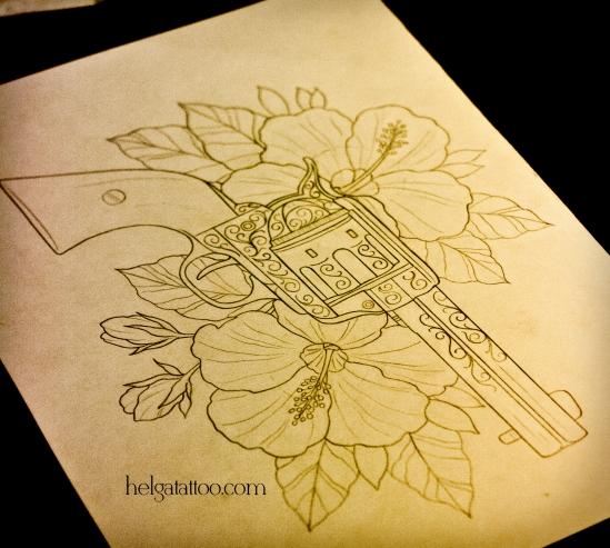 цветы револьвер revolver hibiscus flower рисунок дизайн скетч design sketch diseno old school neo traditional tattoo tatuaje тату в традиционном стиле традиция олд скул традишнл   цветная татуировка  в Санкт-Петербурге