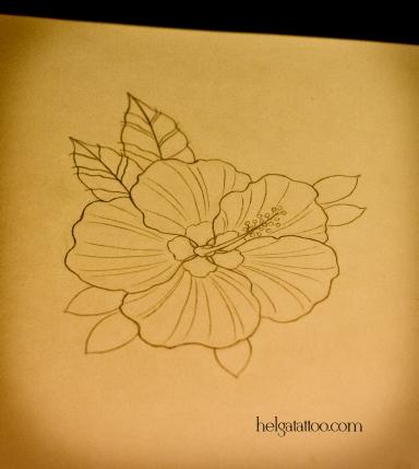рисунок дизайн скетч design sketch diseno hibisco hibiscus flower flor каркадэ old school neo traditional tattoo tatuaje тату в традиционном стиле традиция олд скул традишнл   цветная татуировка  в Санкт-Петербурге