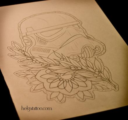 эскиз рисунок дизайн скетч штурмовик звездные войны dark side design sketch diseno old school neo traditional tattoo tatuaje тату в традиционном стиле традиция олд скул традишнл   цветная татуировка  в Санкт-Петербурге