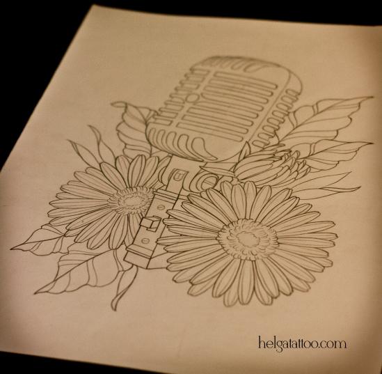 эскиз рисунок дизайн скетч цветы microphone flower flor gerbera design sketch diseno old school neo traditional tattoo tatuaje тату в традиционном стиле традиция олд скул традишнл   цветная татуировка  в Санкт-Петербурге