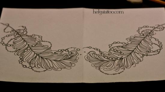 эскиз рисунок дизайн скетч design sketch diseno feather pluma old school neo traditional tattoo tatuaje тату в традиционном стиле традиция олд скул традишнл перо бусина бусы  цветная татуировка  в Санкт-Петербурге