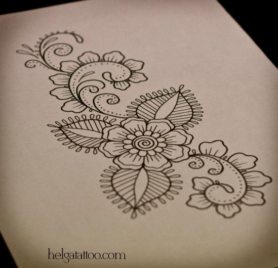 орнамент растительный цветочный менди мехенди индийский узор этнический рисунок  татуировка  в Санкт-Петербурге tattoo