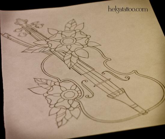 эскиз рисунок дизайн скетч violín violin design sketch diseno музыка музыкальный инструмент music old school neo traditional tattoo tatuaje тату в традиционном стиле традиция олд скул традишнл   цветная татуировка  в Санкт-Петербурге