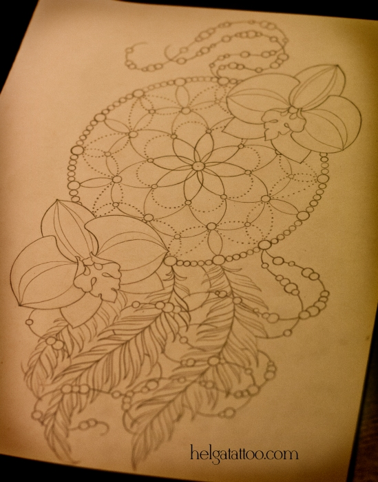 эскиз рисунок дизайн скетч design sketch diseno old school neo traditional tattoo орхидея orchid dreamcatcher tatuaje цветы цветок тату в традиционном стиле традиция олд скул традишнл   цветная татуировка  в Санкт-Петербурге