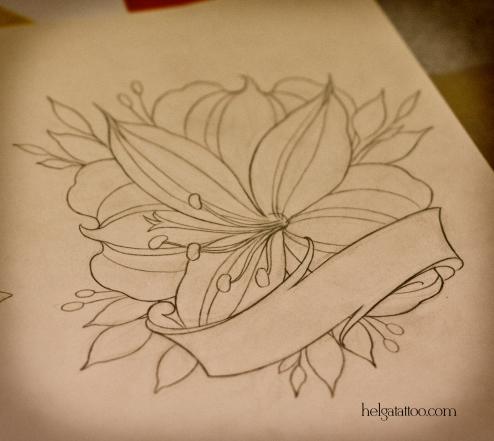 рисунок дизайн скетч design sketch diseno необычный красивый цветок flower alstroemeria flor лента  old school neo traditional tattoo tatuaje тату в традиционном стиле традиция олд скул традишнл   цветная татуировка  в Санкт-Петербурге beautiful
