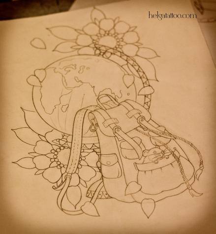 рисунок дизайн скетч design sketch diseno мышь мышонок путешественник путешествия цветы travelling world bag mouse  old school neo traditional tattoo tatuaje тату в традиционном стиле традиция олд скул традишнл   цветная татуировка  в Санкт-Петербурге