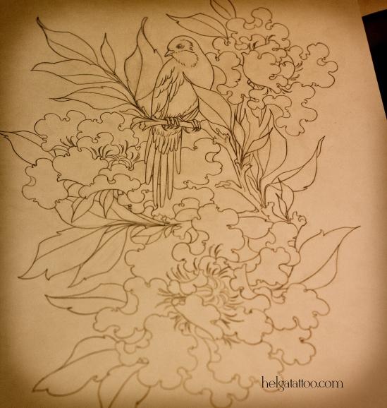 рисунок дизайн скетч peony bird птица цветы design sketch diseno old school neo traditional tattoo tatuaje тату в традиционном стиле традиция олд скул традишнл   цветная татуировка  в Санкт-Петербурге