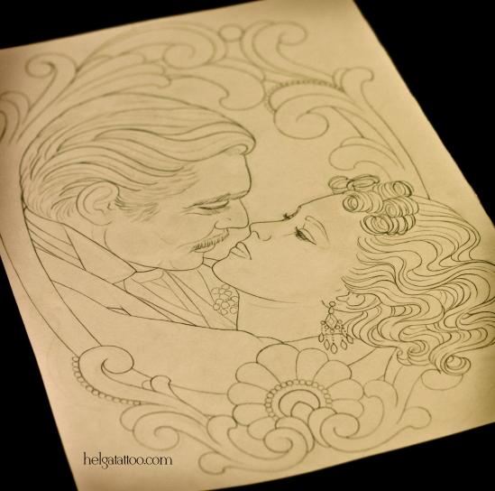 gone with the wind couple love пара эскиз рисунок дизайн скетч design sketch diseno old school neo traditional tattoo tatuaje тату в традиционном стиле традиция олд скул традишнл   цветная татуировка  в Санкт-Петербурге