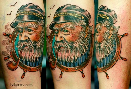 sailor old school neo traditional tattoo капитан рыбак captain tatuaje тату в традиционном стиле традиция олд скул традишнл   цветная татуировка  в Санкт-Петербурге