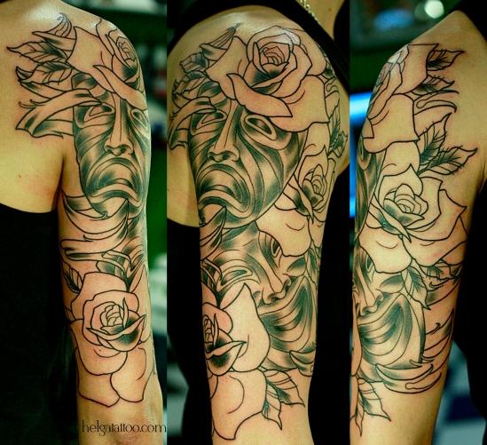 mask comedy tragedy rose flower контуры outlines old school neo traditional tattoo tatuaje маски розы комедия трагедия тату в традиционном стиле традиция олд скул традишнл   цветная татуировка  в Санкт-Петербурге