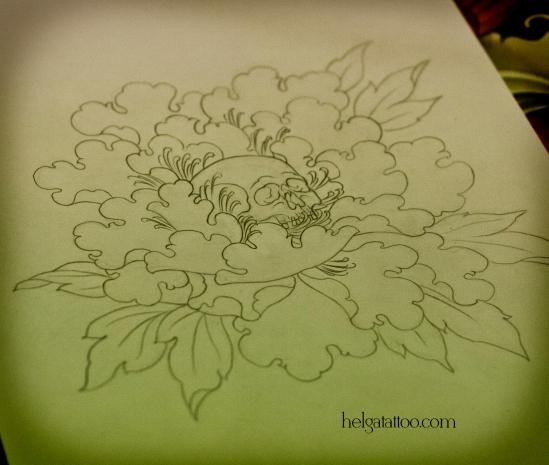 эскиз рисунок дизайн скетч design пион череп цветок flower sketch diseno old school neo traditional tattoo tatuaje тату в традиционном стиле традиция олд скул традишнл   цветная татуировка  в Санкт-Петербурге