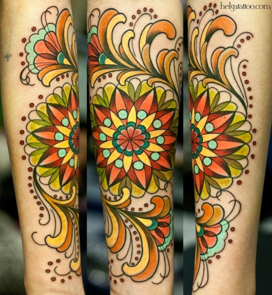 ornament floristic old school neo traditional tattoo tatuaje цветочный растительный орнамент узор тату в традиционном стиле традиция олд скул традишнл  цветная татуировка  в Санкт-Петербурге