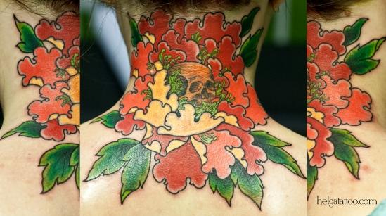 peony skull old school neo traditional tattoo цветок flower tatuaje тату в традиционном стиле традиция олд скул традишнл   цветная татуировка  в Санкт-Петербурге