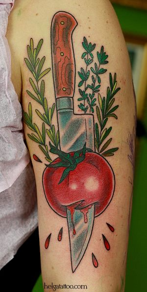 традиционная татуировка помидор нож розмарин тимьян old school neotraditional tattoo tomato knife cook