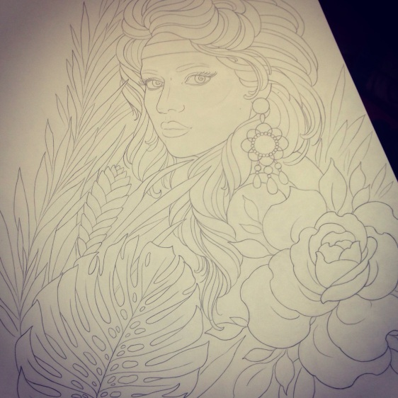 neotraditional old school tattoo design wild girl forest flower rose роза девушка тропические растения лес эскиз рисунок дизайн татуировки
