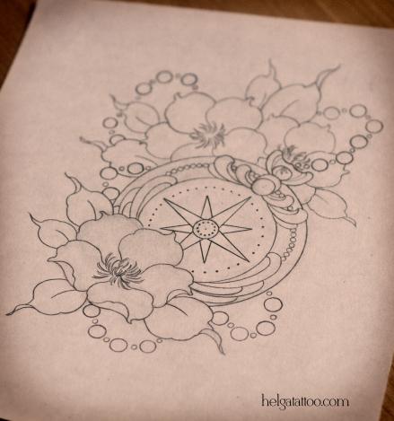 рисунок дизайн скетч цветы медальон compass brújula flower flor design sketch diseno old school neo traditional tattoo tatuaje тату в традиционном стиле традиция олд скул традишнл   цветная татуировка  в Санкт-Петербурге