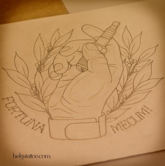 эскиз дизайн традиционная татуировка рука лавровые ветви old school neo traditional tattoo design