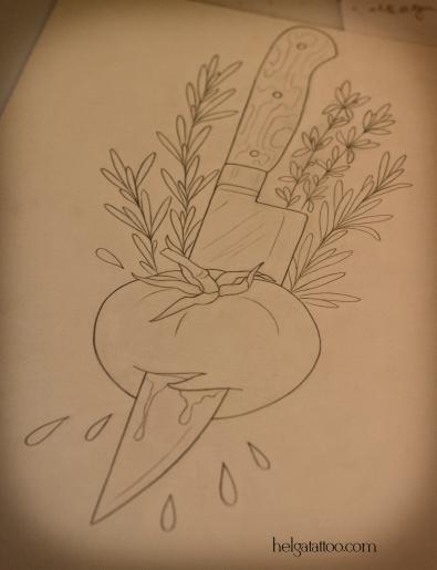 эскиз татуировки помидор томат нож old school neo traditional tattoo knife tomato cook