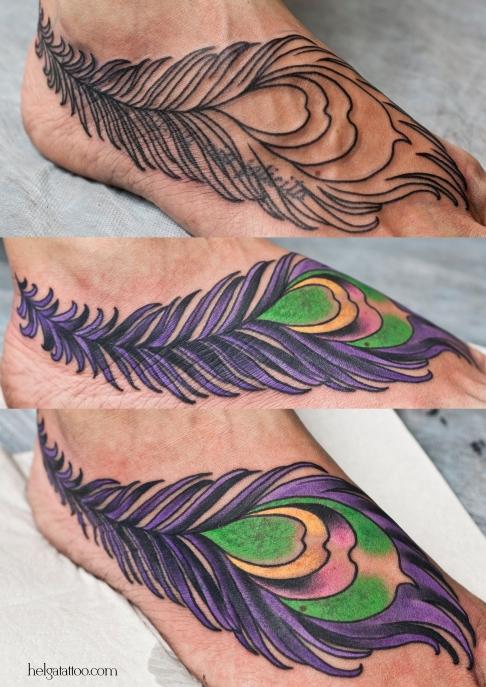 перо pluma перышко old school neo traditional tattoo tatuaje тату в традиционном стиле традиция олд скул традишнл   цветная татуировка  в Санкт-Петербурге  cover up исправление перекрытие некачественных старых татуировок портаков кавер