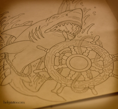 shark штурвал морская тематика море sea рисунок дизайн скетч design sketch diseno old school neo traditional tattoo tatuaje тату в традиционном стиле традиция олд скул традишнл   цветная татуировка  в Санкт-Петербурге