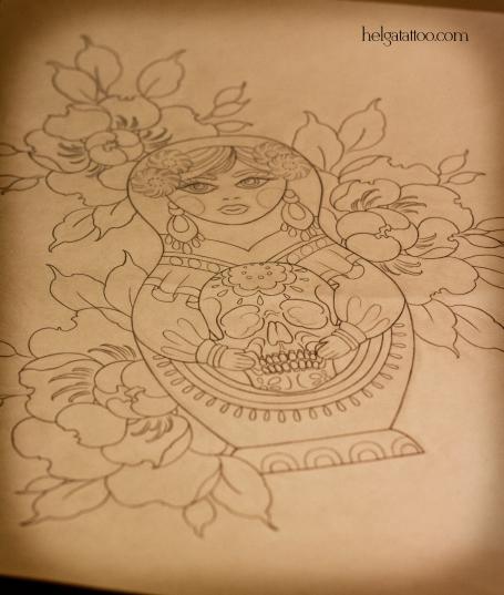эскиз цветы flower flor рисунок дизайн скетч Día de los Muertos design sketch day of the Dead diseno кукла matrioshka doll russian mexican матрешка  old school neo traditional tattoo tatuaje тату в традиционном стиле традиция олд скул традишнл scull череп день мертвых  цветная татуировка  в Санкт-Петербурге