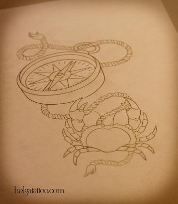 эскиз рисунок дизайн скетч design crab sea sailor sketch diseno compass old school neo traditional tattoo tatuaje тату в традиционном стиле традиция олд скул традишнл краб крабик канат цветная татуировка  в Санкт-Петербурге