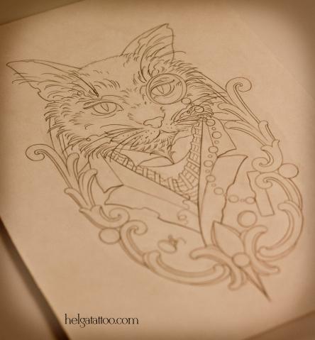 эскиз рисунок дизайн скетч design sketch diseno cat gentleman джентельмен old school neo traditional tattoo tatuaje тату в традиционном стиле традиция олд скул традишнл   цветная татуировка  в Санкт-Петербурге