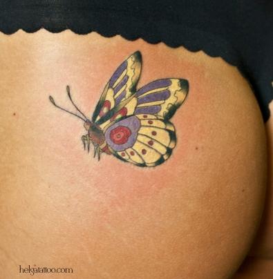 бабочка old school neo traditional tattoo мотылек tatuaje mariposa тату в традиционном стиле традиция олд скул традишнл girl hot пикантная цветная татуировка  в Санкт-Петербурге