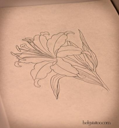 эскиз рисунок lily дизайн скетч design sketch diseno old school neo traditional tattoo tatuaje тату в традиционном стиле традиция олд скул традишнл цветок flower  цветная татуировка  в Санкт-Петербурге