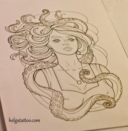 медуза эскиз татуировки осьминог