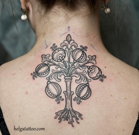 гранатовое дерево татуировка орнамент