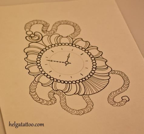 эскиз татуировки часы