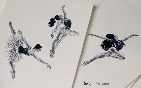 балерина эскиз татуировки