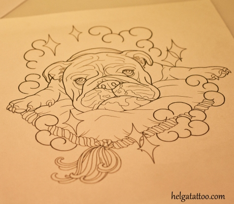 bulldog tattoo design