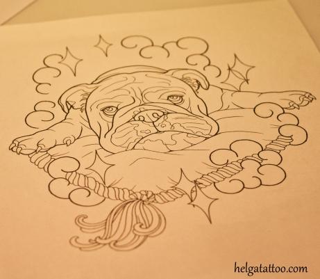 bulldog tattoo design